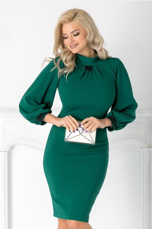 Rochie Moze verde conica cu dantela si cret la guler