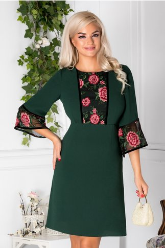 Rochie Moze verde cu broderie florala