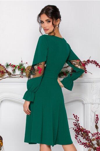 Rochie Moze verde cu broderie florala la maneci