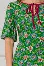 Rochie Moze verde cu imprimeuri florale si volanas la baza