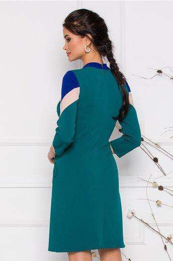 Rochie Moze verde cu insertii de albastru si bej