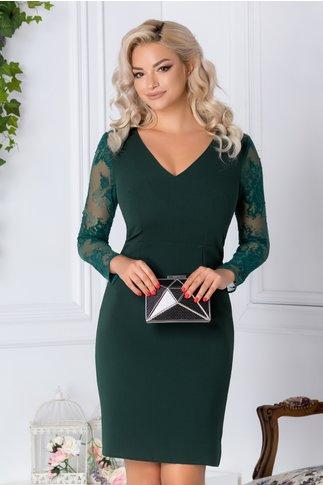 Rochie Moze verde cu maneci din dantela