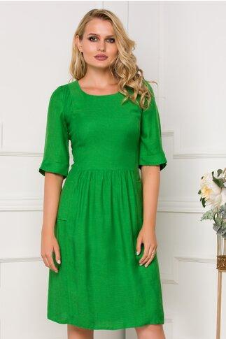 Rochie Moze verde cu nasturi la spate