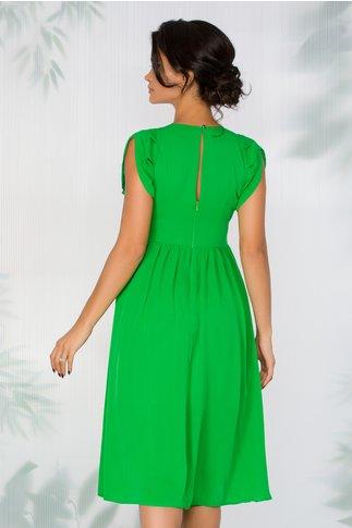 Rochie Moze verde deschis din voal cu volanase la maneci