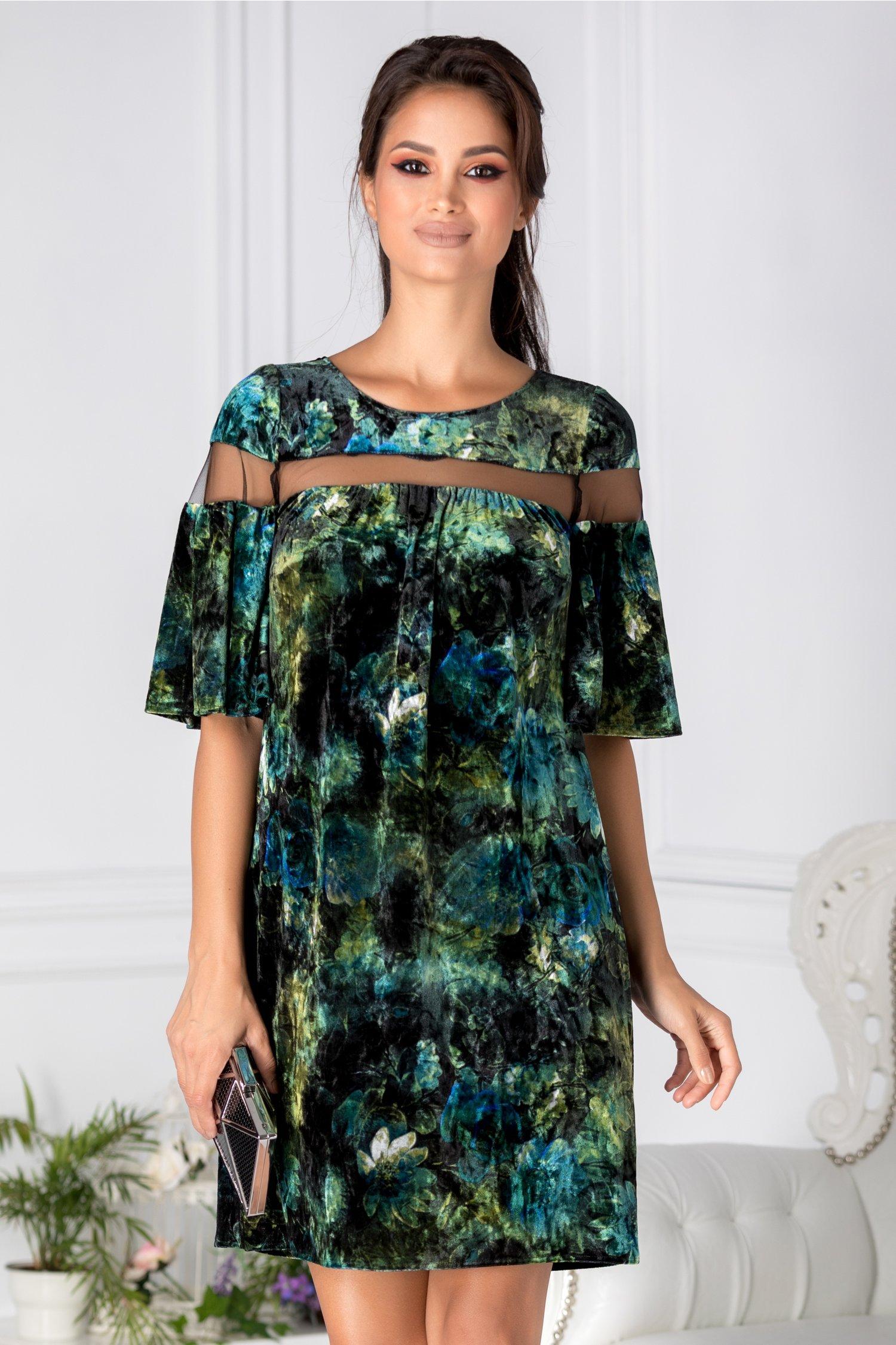 Rochie Moze verde din catifea cu print floar