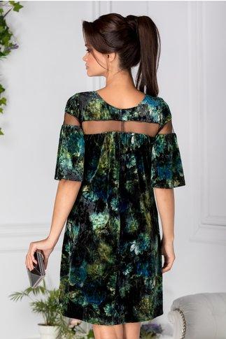 Rochie Moze verde din catifea cu print floral