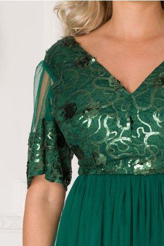 Rochie Moze verde din dantela cu paiete si fusta din tull