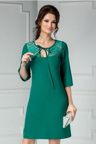 Rochie Moze verde eleganta cu dantela la bust