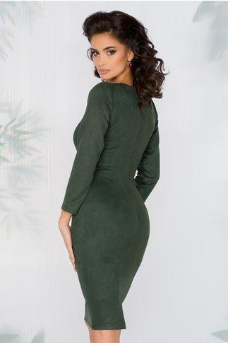 Rochie Moze verde inchis cu aspect de piele intoarsa
