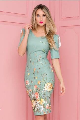 Rochie Moze verde pal cu imprimeu floral