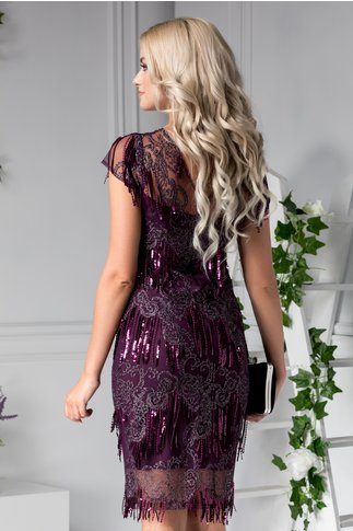 Rochie Moze violet de ocazie cu franjuri si dantela