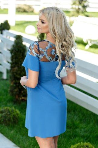 Rochie Moze Yvonne albastra cu dantela la bust