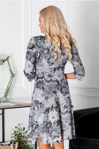 Rochie Myra cu imprimeu floral gri