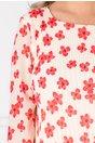 Rochie Myra ivory cu imprimeu floral rosu