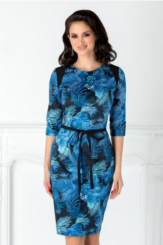 Rochie Nadia neagra cu imprimeu albastru si cordon in talie