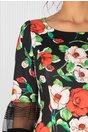 Rochie Nadia neagra cu imprimeuri florale rosii