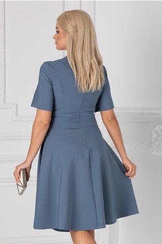 Rochie Nadine albastra cu accesoriu in talie