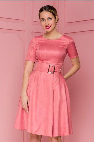 Rochie Nadine roz coniac cu accesoriu in talie