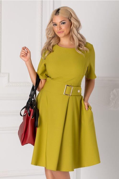 Rochie Nadine verde deschis cu accesoriu in talie