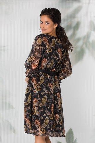 Rochie Naoki neagra cu imprimeu floral stil mandala si buline negre catifelate