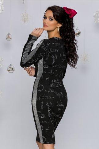 Rochie Nastya neagra cu benzi decorative argintii si imprimeu tip