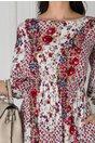 Rochie Natalia alba cu imprimeu floral rosu