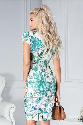 Rochie  Natalia alba cu imprimeu tropical verde