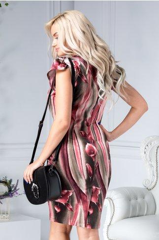 Rochie Natalia roz cu gri conica cu imprimeu