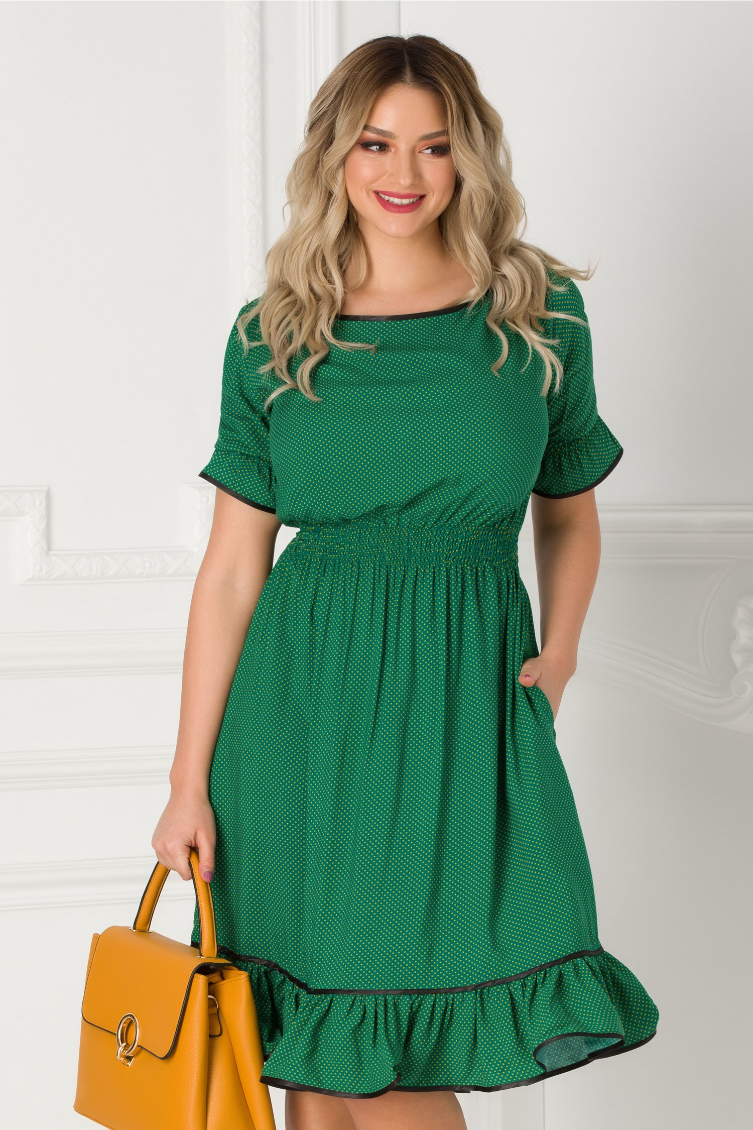 Rochie Natalia verde cu buline galbene