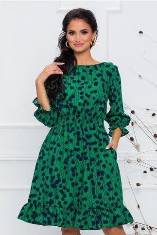 Rochie Natalia verde cu imprimeu floral