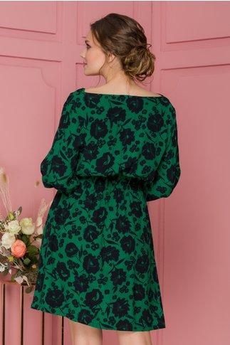 Rochie Natalia verde cu imprimeu floral negru