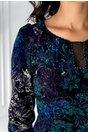 Rochie Natalie cu insertii din catifea si imprimeuri turcoaz