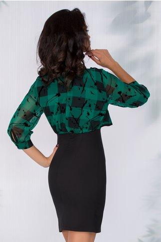 Rochie Natasha verde cu insertii catifelate negre si volan la bust