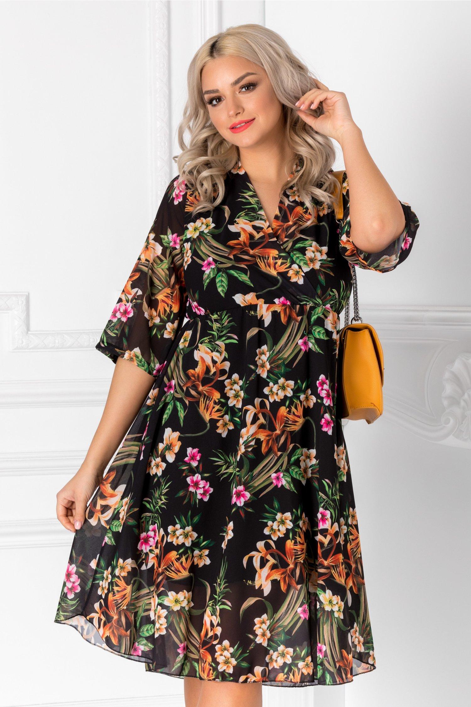 Rochie Nati neagra cu imprimeu floral colorat