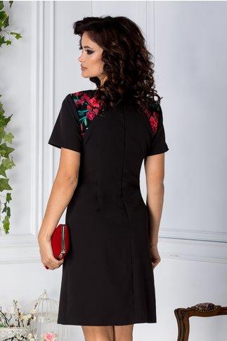 Rochie Naty neagra evazata cu detalii florale