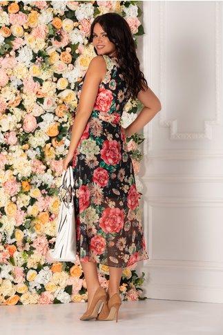 Rochie neagra Addison cu imprimeu floral in nuante vibrante