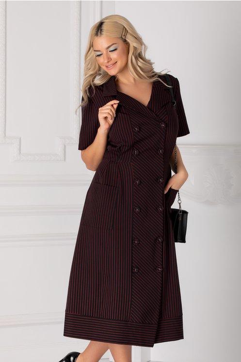 Rochie neagra cu dungi rosii si nasturi