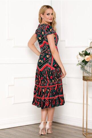 Rochie neagra cu imprimeu colorat evazata la baza