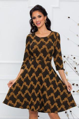 Rochie neagra cu imprimeu cu frunze maro