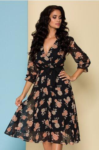 Rochie neagra cu imprimeu floral si decolteu in V