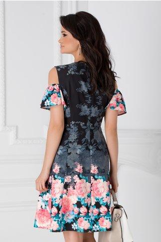 Rochie neagra cu maneci decupate si imprimeuri florale corai