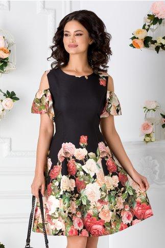 Rochie neagra cu trandafiri si maneci decupate