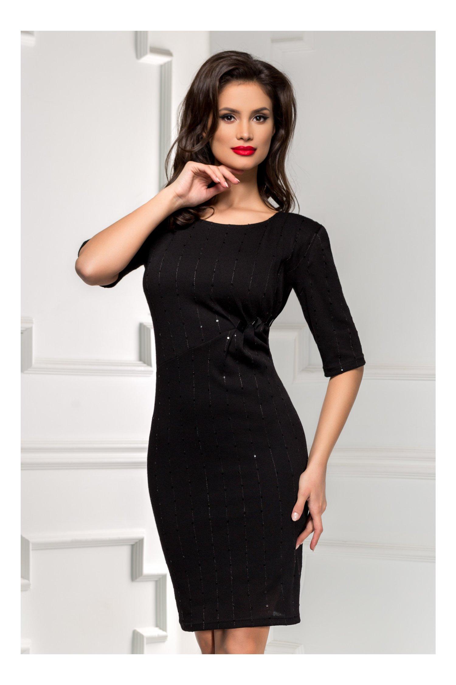 Rochie neagra din tricot cu aplicatii de paiete