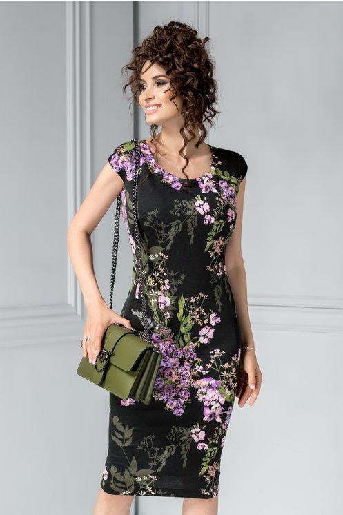 Rochie neagra midi cu imprimeu floral lila