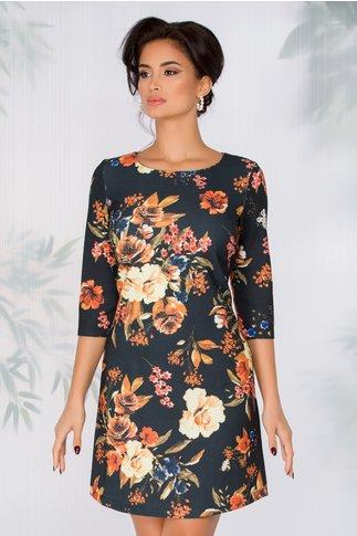 Rochie Nellie neagra cu imprimeu floral in nuante tomnatice