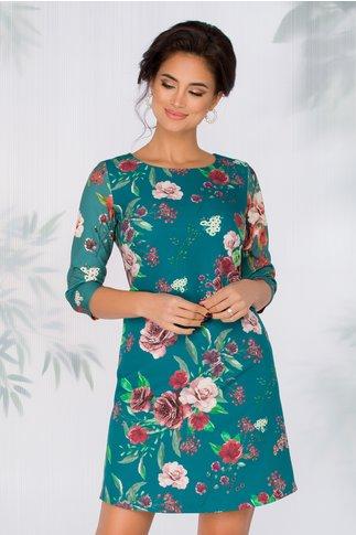 Rochie Nellie turcoaz cu imprimeu floral