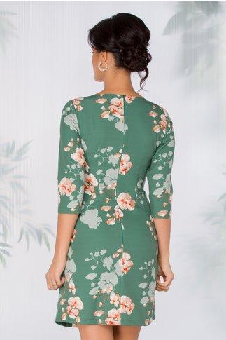Rochie Nellie verde cu imprimeu floral orange