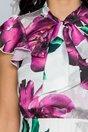 Rochie Nely alba cu imprimeuri florale mov