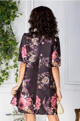 Rochie Niko scurta neagra cu imprimeu floral roz