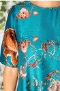 Rochie Niko scurta turcoaz cu imprimeu floral